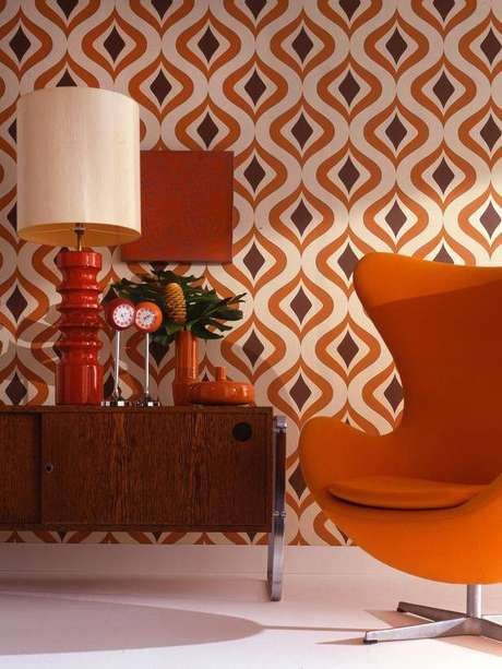 37. Decoração com móveis retrô sala – Via: Pinterest