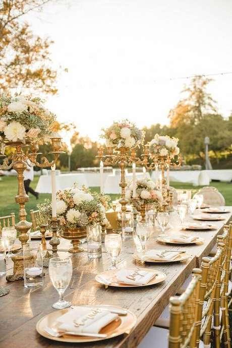 4. Pense nos detalhes da decoração para o aniversário de casamento conforme a bodas que o casal estiver comemorando – Foto: Ideias para Decorar