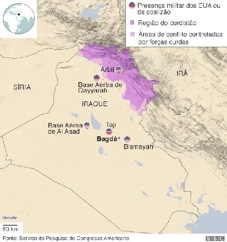 Gráfico sobre bases americanas no Iraque