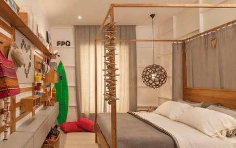 3. Móveis de madeira para decoração de quarto de praia – Foto: Quartos Etc