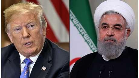 Trump restabeleceu as sanções contra o Irã governado por Hassan Rouhani (dir.)