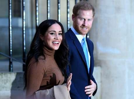 Príncipe Harry e Meghan Markle durante visita à Casa do Canadá, em Londres 07/01/2020 Daniel Leal-Olivas/Pool via REUTERS