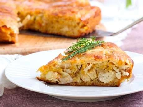 Torta de frango e palmito com requeijão