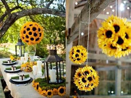 2. Ideias criativas e baratas para a decoração de festa tema girassol. Fonte: Pinterest