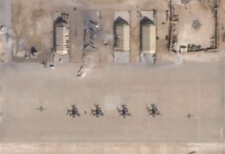Imagem de satélite mostra danos em base área que abriga tropas dos EUA no Iraque 08/01/2020 Planet/Divulgação via REUTERS