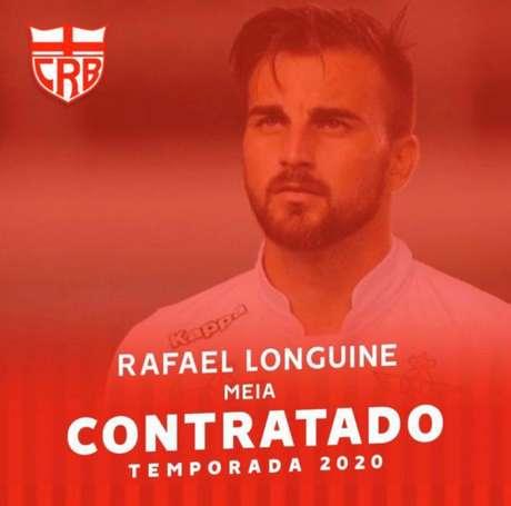 Longuine jogará no CRB em 2020 (Reprodução/Twitter CRB)