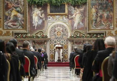 Papa Francisco durante encontro com corpo diplomático no Vaticano