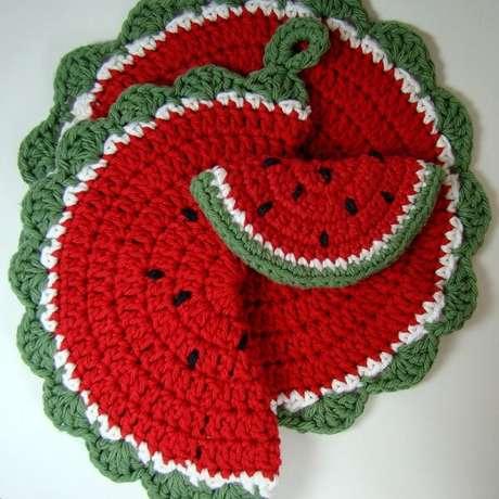 9. Kit descanso de panela melancia com diferentes tamanhos. Fonte: Artesanato passo a passo
