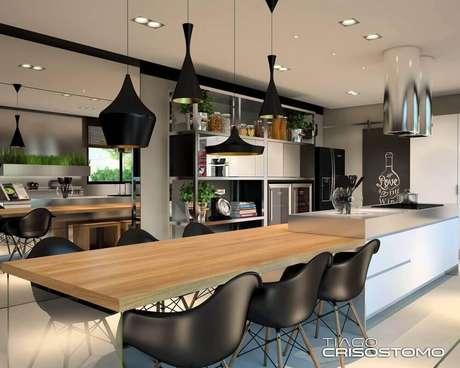 45. Decoração com vários formatos de luminária para cozinha