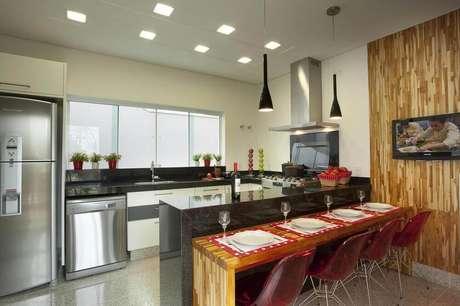 26. Luminária para cozinha americana com luz de LED