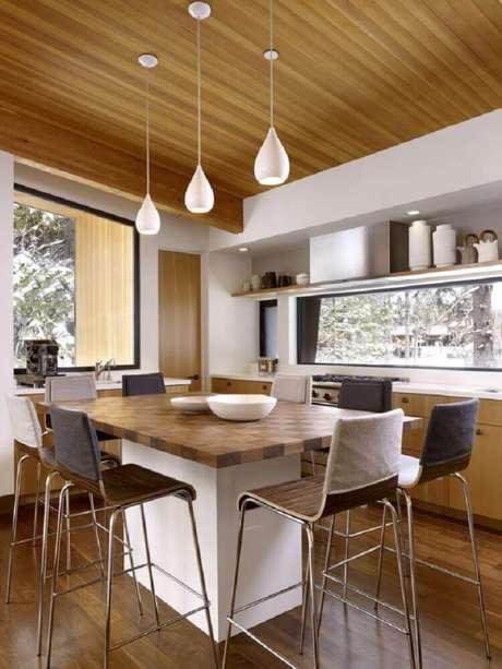 46. Luminária para cozinha branca