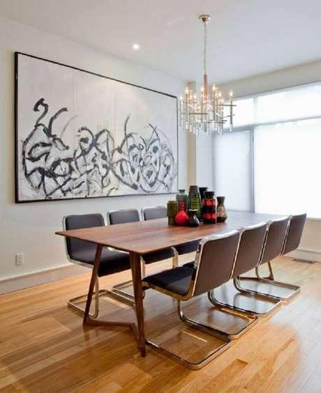20. Modelos de quadros decorativos grandes para sala de jantar clean. Fonte: Pinterest