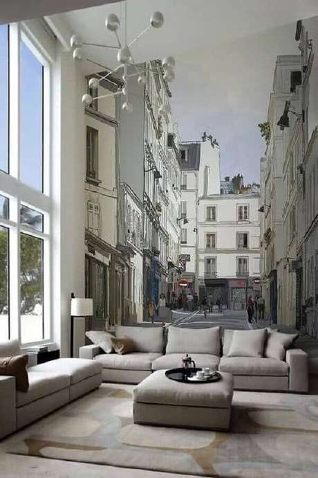45. Decoração para sala com conjunto de sofá cinza e papel de parede 3D – Foto: Cute & Paste
