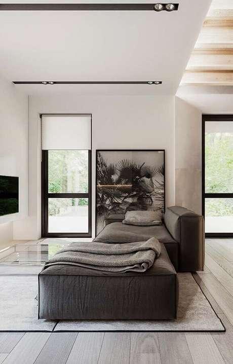 70. Sofá cinza modulável para decoração de sala ampla moderna – Foto: Wood Save