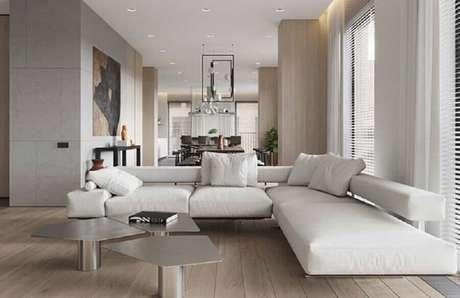 85. Sofá de canto branco com design moderno – Foto: Pinterest