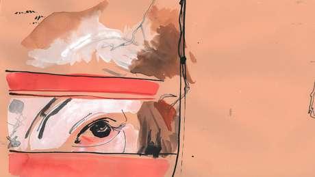 Ilustração do olhar de uma vaca atrás de grades