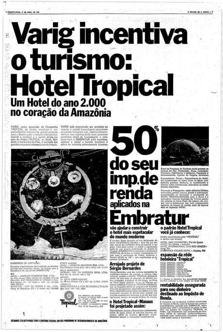 Anúncio publicitário sobre a construção do Hotel Tropical, publicado em 1968 no Estado