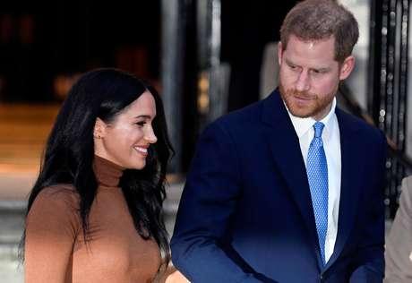 Príncipe Harry e a mulher, Meghan, em Londres 07/01/2020 REUTERS/Toby Melville