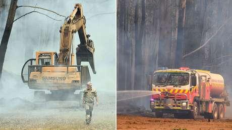Equipamentos de solo incluem escavadeiras e caminhões-tanque