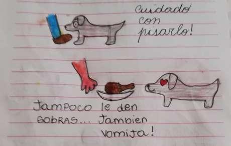 Criança fez uma lista de cuidados para a tia tomar com o cachorro Milo