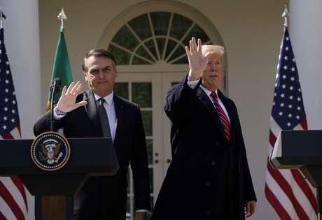 Presidente dos EUA, Donald Trump, e presidente Jair Bolsonaro na Casa Branca 19/03/2019 REUTERS/Kevin Lamarque