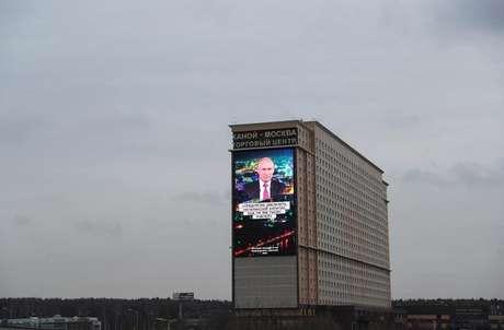 Discurso de Putin é exibido em telão em Moscou 15/01/2020 REUTERS/Evgenia Novozhenina