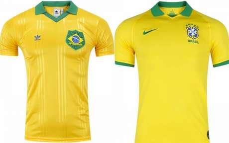 Camisas do Brasil pela Adidas e pela Nike - esta sendo a patrocinadora oficial da CBF (Fotos: Divulgação)