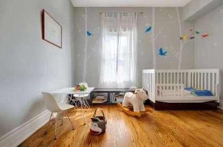 51. Utilize o piso laminado no quarto das crianças. Fonte: Pinterest