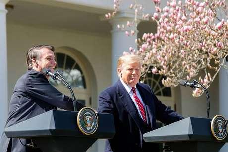 Jair Bolsonaro e Donald Trump fazem pronunciamento durante visita do brasileiro à Casa Branca.