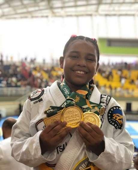 Luanna Ribeiro tem 10 anos e é tricampeã brasileira de Jiu-Jitsu (Foto: Reprodução)