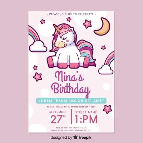 45. Convite de aniversário infantil de unicórnios – Foto: Freepik