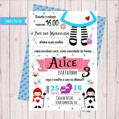 48. Convite de aniversário infantil digital da Alice no País das Maravilhas – Foto: Elo7