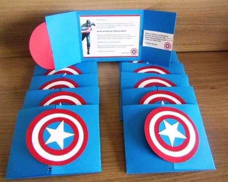 55. Convite de aniversário infantil capitão america – Foto: Pinterest