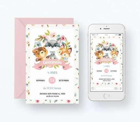 58. Convite de aniversário infantil com animais na versão impressa e digital – Foto: Elo7