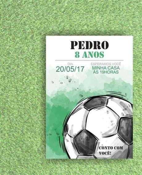 5. Convite de aniversário infantil masculino festa de futebol – Foto: Elo7
