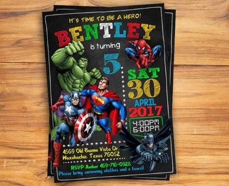 25. Convite de aniversário infantil masculino dos herois – Foto: Examples
