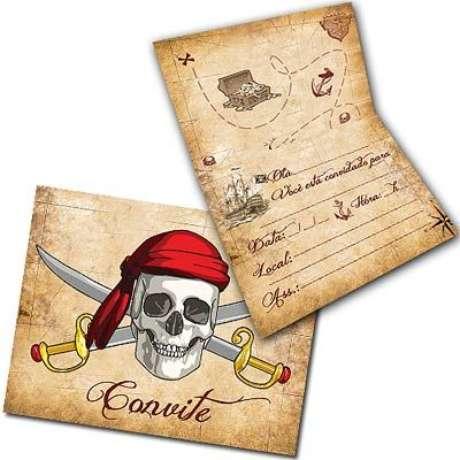 32. Convite de aniversário infantil de piratas – Foto: Magazine 25