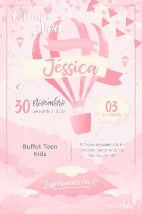 37. Convite de aniversário infantil virtual de balão rosa – Foto: Template