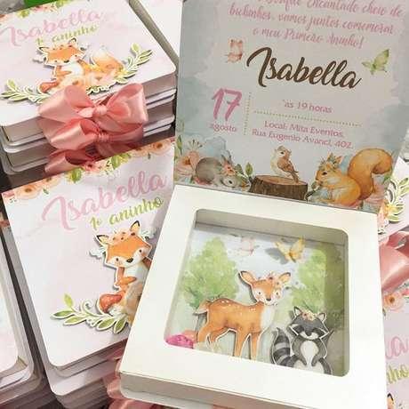 1. Convite de aniversário infantil raposa e animais da floresta – Foto: Pinterst