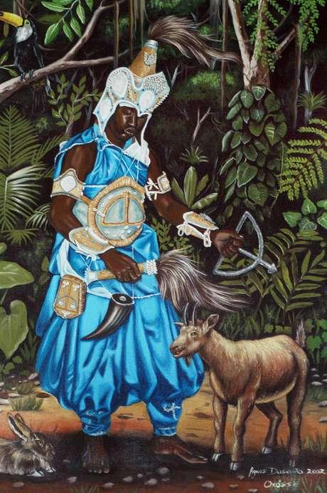 Reprodução de imagem de Oxóssi na Congregação Espírita Beneficente Pai Jerônimo Axé Ilê Oba, em São Paulo (22/02/2005)