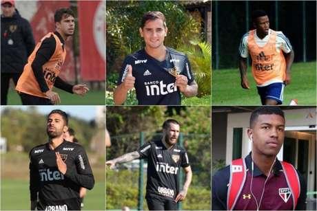 Araruna, Everton Felipe, Calazans, Tréllez, Gómez e Natel: todos fora dos planos - FOTOS: Divulgação/São Paulo FC