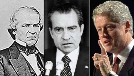 Andrew Johnson (esq), Bill Clinton (dir) foram impedidos e depois absolvidos no Senado; Richard Nixon (centro) renunciou antes de passar pelo processo