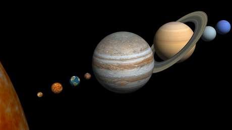 Júpiter, Saturno, Urano e Netuno são gasosos, congelados e ricos em materiais carbônicos.