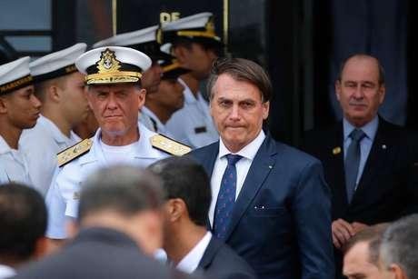 O presidente Jair Bolsonaro durante evento no 1º Distrito Naval, no Rio, onde almoçou com almirantes