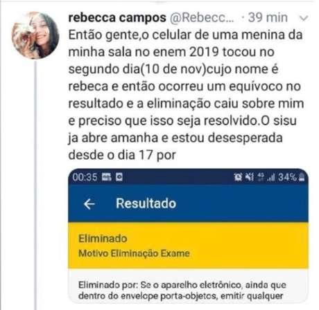 Rebeca Ferreira foi eliminada do Enem 2019 porque foi confundida com outra candidata, também chamada Rebeca, cujo celular tocou durante a aplicação do exame