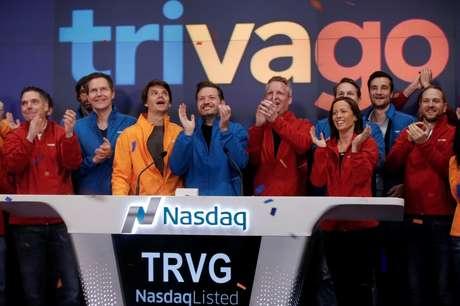 Equipe da Trivago durante oferta pública inicial (IPO) da companhia na bolsa de Nova York  16/12/2016 REUTERS/Mike Segar