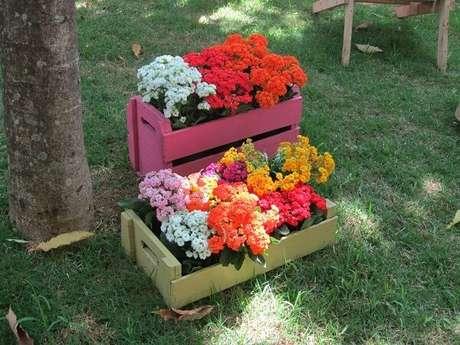 3. Floreira de madeira feita com caixotes coloridos. Fonte: Pinterest