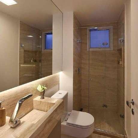 7. Tons claros e neutros são perfeitos para a decoração de banheiro pequeno de apartamento – Foto: Sandra Steuer