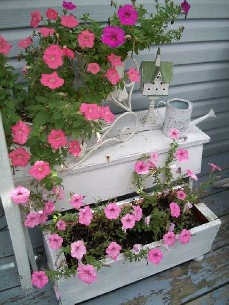 54. Móvel antigo serve como floreira para petúnias. Fonte: Um Jardim Para Cuidar