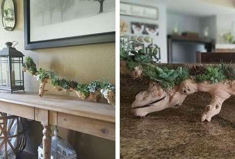 11. Floreira de madeira rústica encanta a decoração da sala de estar. Fonte: Pinterest